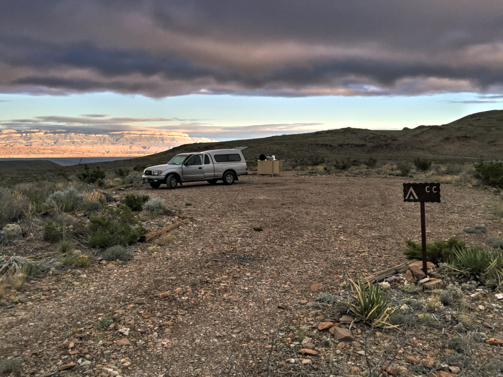 My truck at Chilicotal Camp Site, Big Bend National Park
