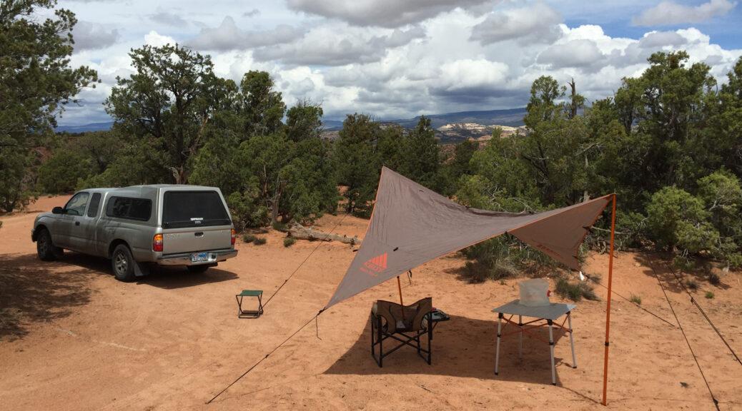 Tarp in use at camp in Escalante National Monument, Utah