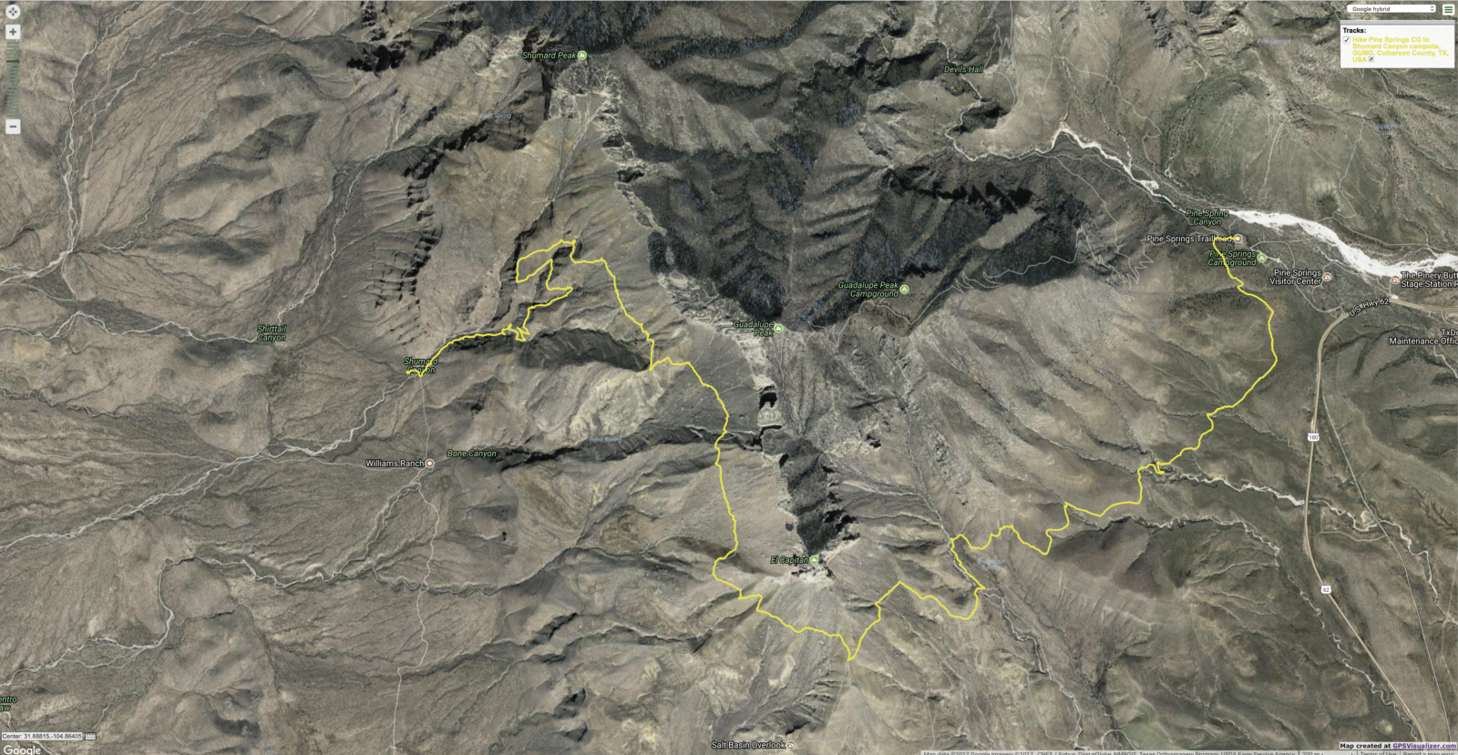 Tracklog out to Shumard Backcountry site