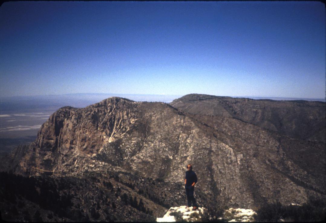 Me on the summit plateau 1985. Shumard Peak behind me.