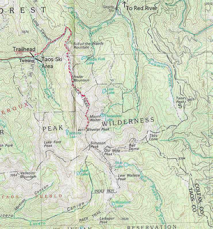 Map of my route to Wheeler Peak summit 1997