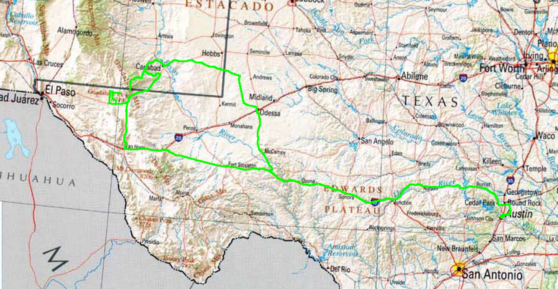 Map of West Texas and southern New Mexico with route driven highlighted in green.